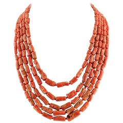 Red Coral and Silver Clasp Multi-Strand Necklace