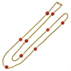 Red Coral Bead 18 Karat Yellow Gold Link Necklace