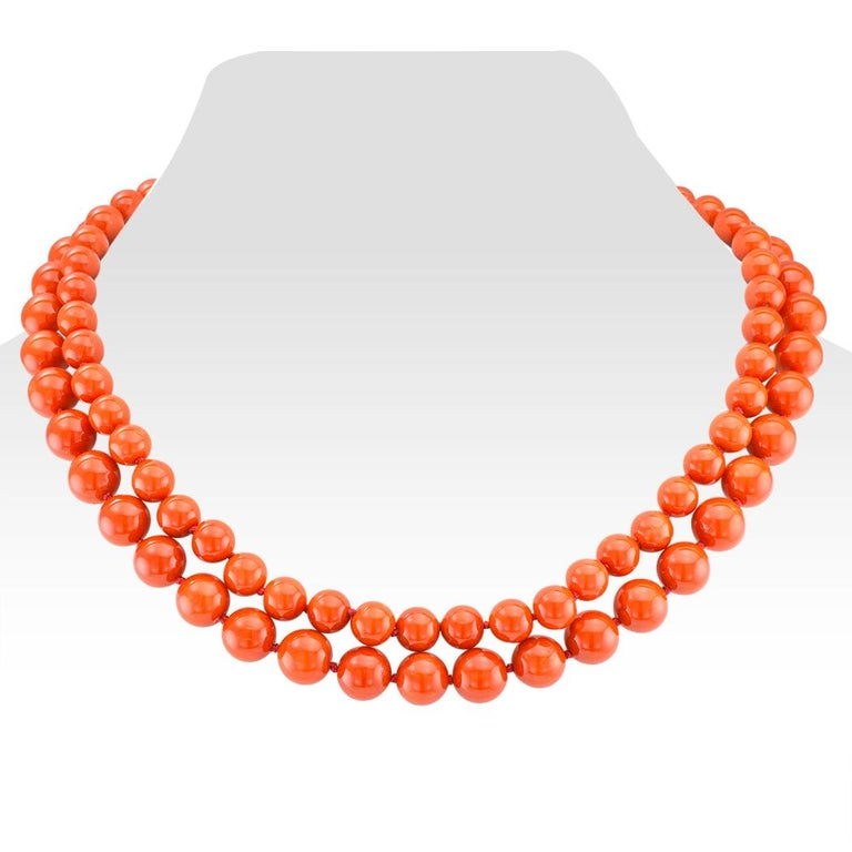 Contemporary Red Coral Bead Diamond Gold Necklace For Sale