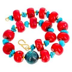 Gemjunky Impressive Huge Red Coral, Blue Magnesite and Azurite Necklace