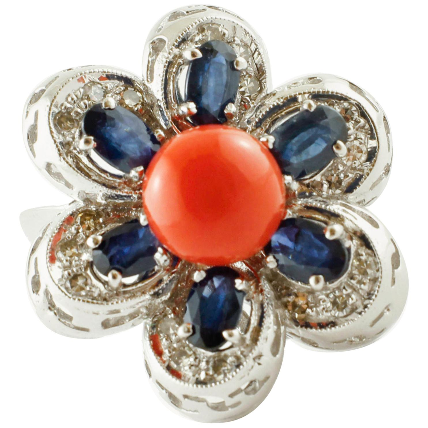 Red Coral Button Blue Sapphires, Diamonds, 18 Karat Gold Flower Shape Retrò Ring