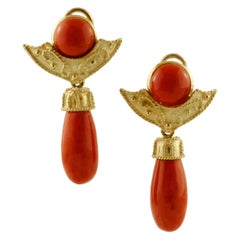 Red Coral Buttons and Drops, 18 Karat Yellow Gold Clip-On/Drop Earrings