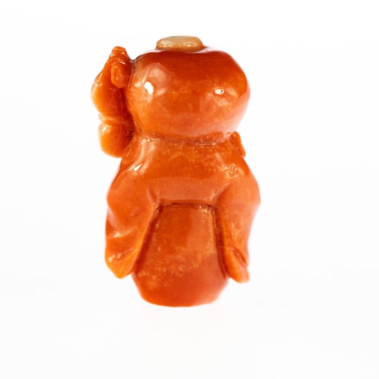Taiwanese Red Coral Chinese Wise Man Hand Carved Asian Art Taiwan Statue Sculpture For Sale