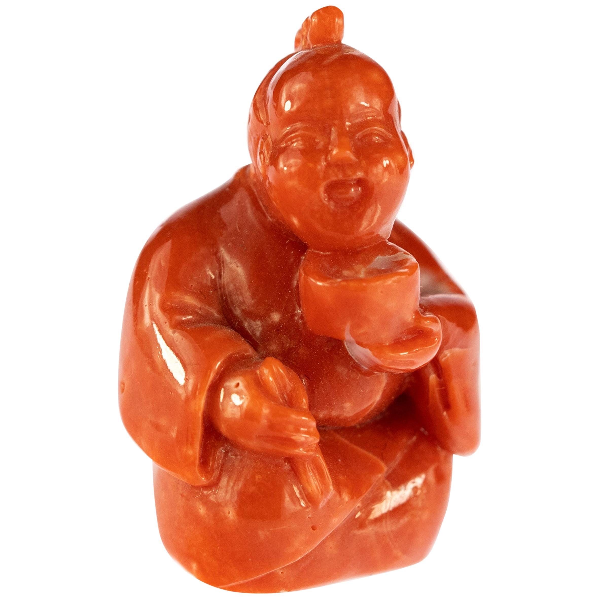 Red Coral Chinese Wise Man Hand Carved Statue Asian Art Meditation Sculpture