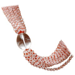 Red Coral Crystal Rock Coral 925 Gilded Silver Beaded Multi-Strand Necklace