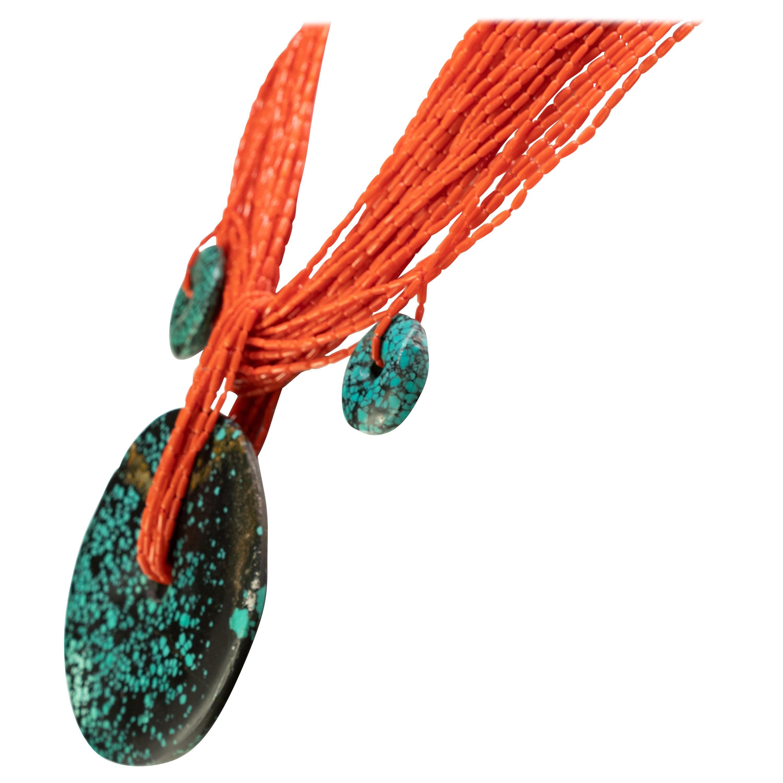 Red Coral Dark Jade Pendant 925 Gilded Silver Multi Strand Beaded Necklace