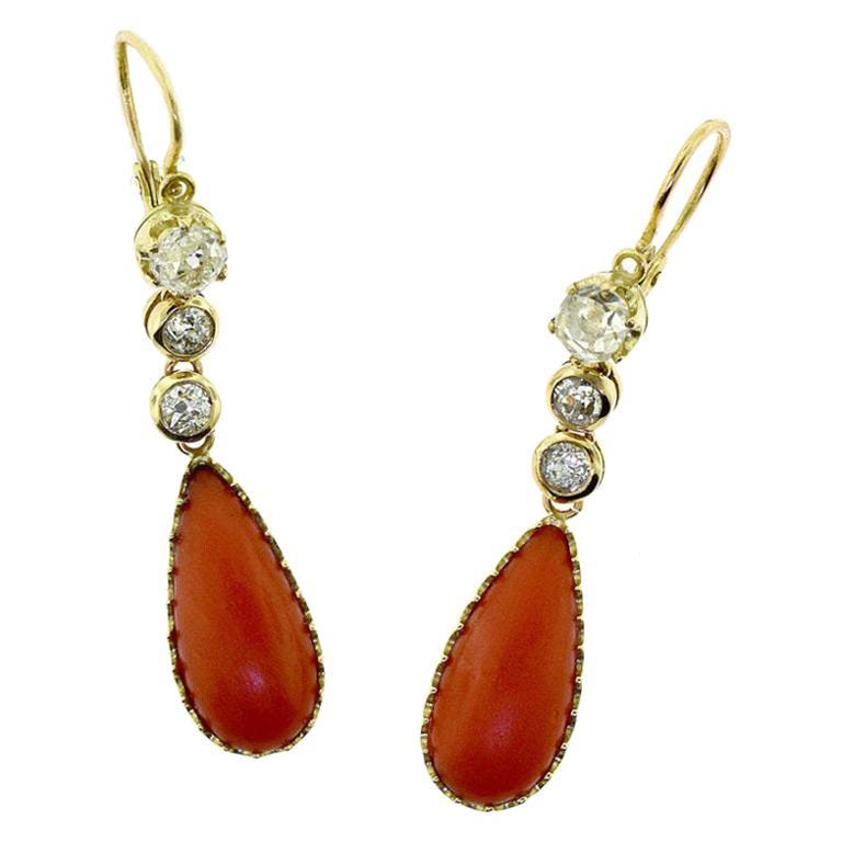 Red Coral Diamond 18 Karat Yellow Gold Dangle Drop Earrings