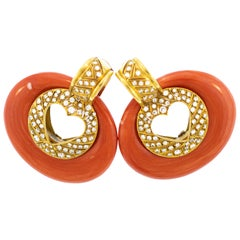 Red Coral Diamond 18 Karat Gold Creole Earrings