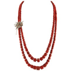 Red Coral Diamonds Rubies Emeralds Blue Sapphires Rose Gold and Silver Necklace