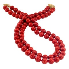 Red Coral Double Strand Bead Necklace