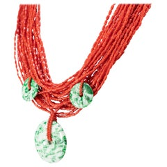 Red Coral Green Jade Pendant 925 Gilded Silver Multi Strand Beaded Necklace