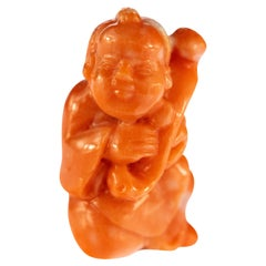 Red Coral Man Hand Carved Asian Art Home Decor Taiwan Statue Sculpture