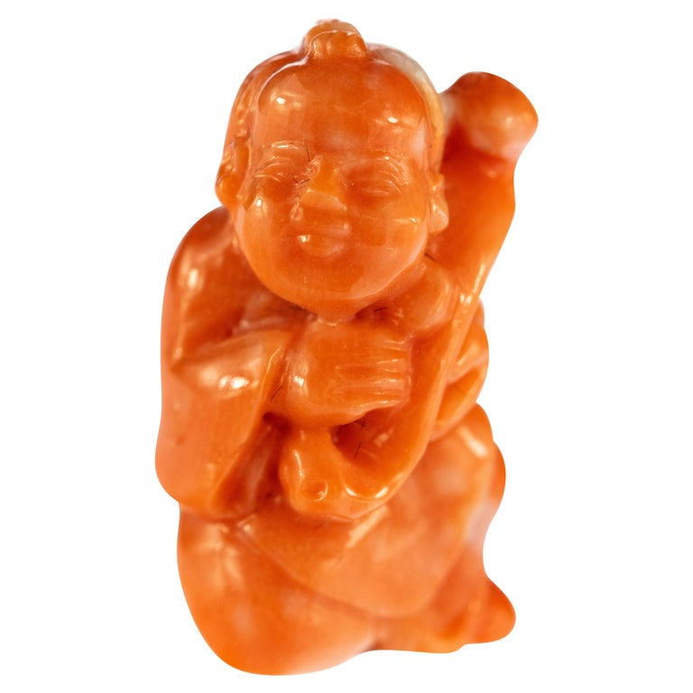 Red Coral Man Hand Carved Asian Art Home Decor Taiwan Statue Sculpture For Sale