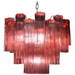 Red Coral Murano Glass Tronchi Chandelier by Tony Zuccheri for Venini, 1970