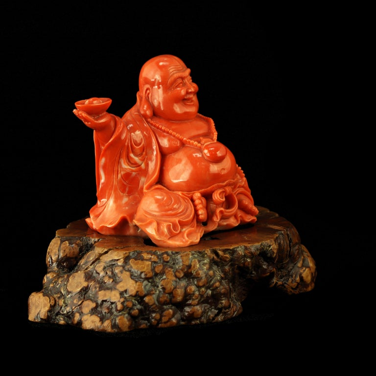 Chinese Export Red Coral Natural Laughing Buddha Carved Asian Decorative Art Statue Sculpture For Sale