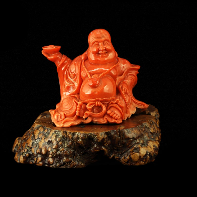 20th Century Red Coral Natural Laughing Buddha Carved Asian Decorative Art Statue Sculpture For Sale