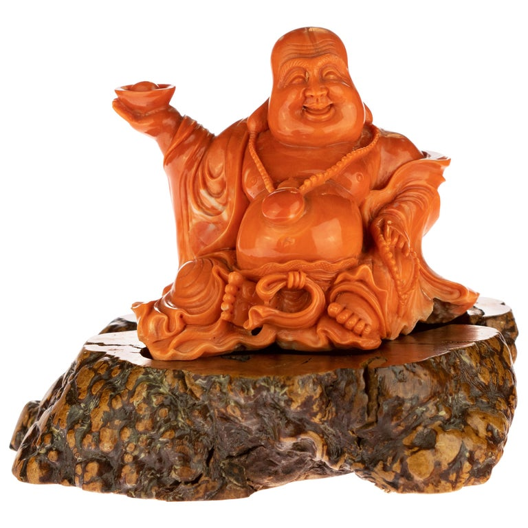 Red Coral Natural Laughing Buddha Carved Asian Decorative Art Statue Sculpture For Sale