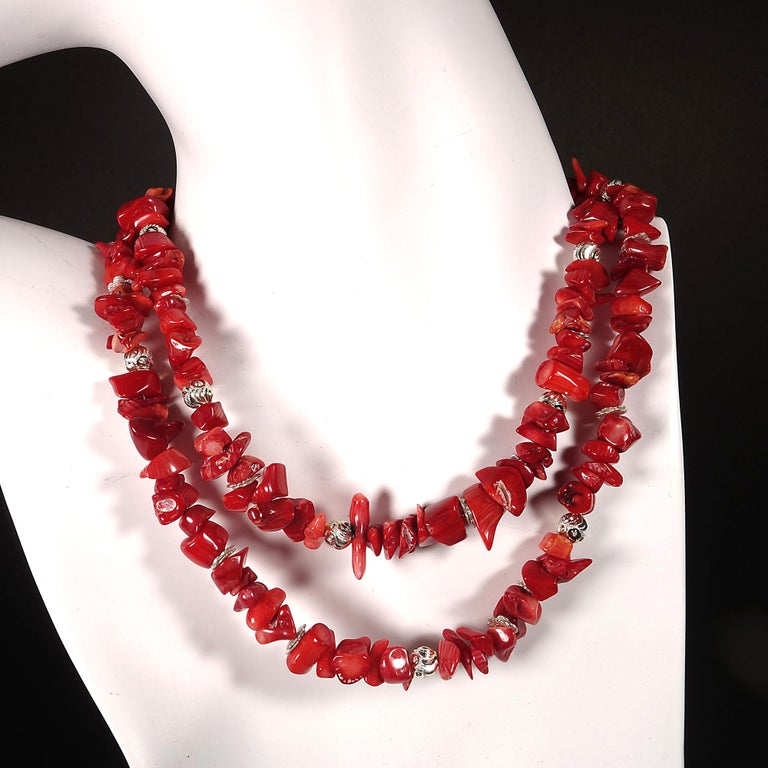 Red Coral Necklace with Silver accents In New Condition For Sale In Tuxedo Park, NY