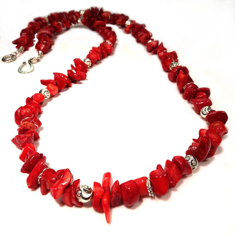 Women's or Men's Red Coral Necklace with Silver accents For Sale