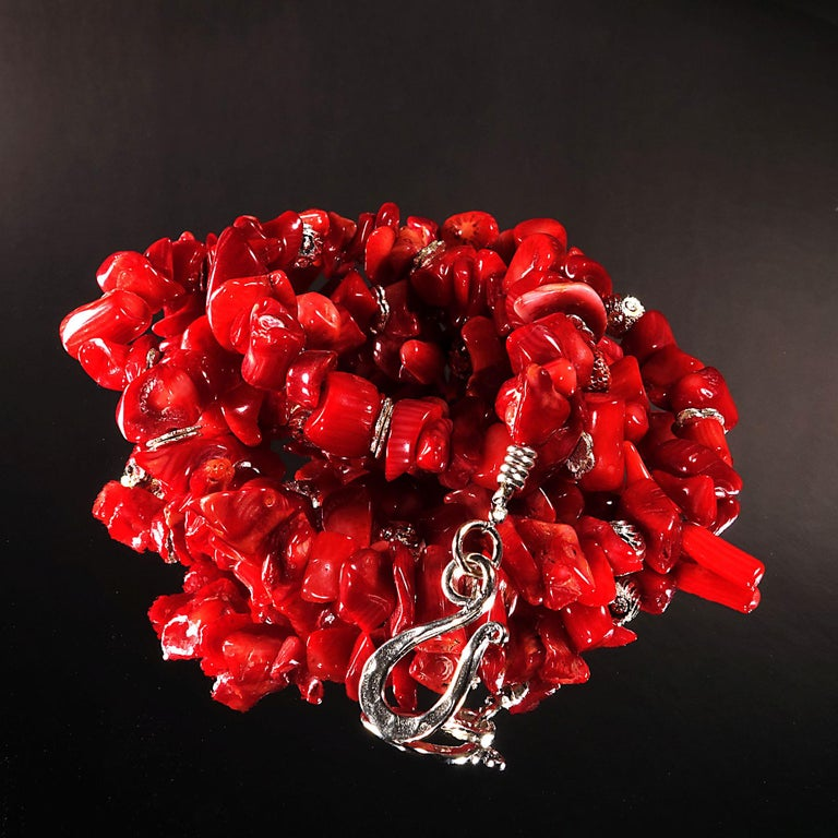 Red Coral Necklace with Silver accents For Sale 1