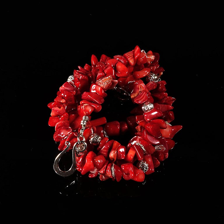 Red Coral Necklace with Silver accents For Sale 3