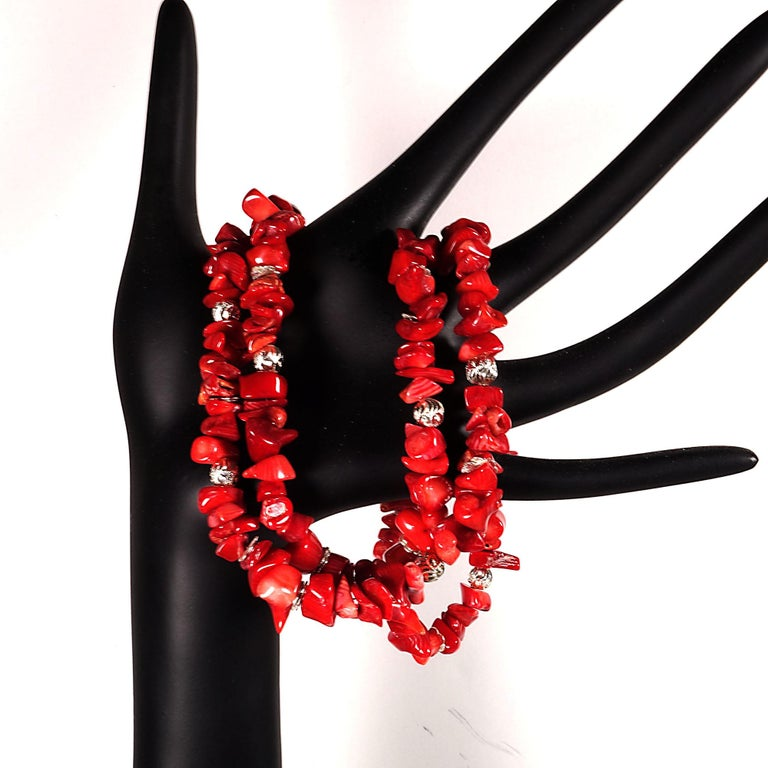 Red Coral Necklace with Silver accents For Sale 4
