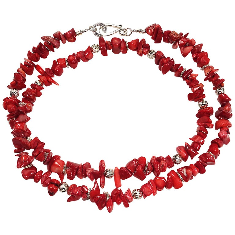 Red Coral Necklace with Silver accents For Sale