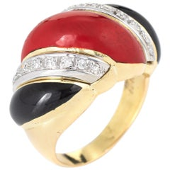 Red Coral Onyx Diamond Ring Vintage 14 Karat Yellow Gold Scrolled Band Jewelry