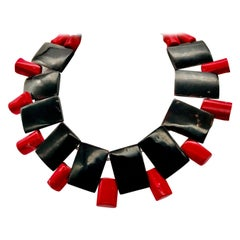 Red Coral ,Pacific Pinna, Chocker ,Statement Necklace, by Sylvia Gottwald