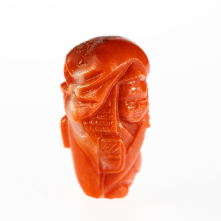 Hand-Carved Red Coral Peasant Hand Carved Asian Art Home Decor Taiwan Statue Sculpture For Sale