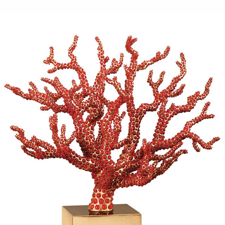 Sculpture red coral handcrafted sculpture with more than 8000 red coral cabochons hand-placed. With structure and base in solid brass gold-plated 24-karat. Exceptional piece in limited edition.