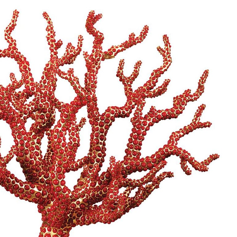 Portuguese Red Coral Sculpture with Natural Coral For Sale