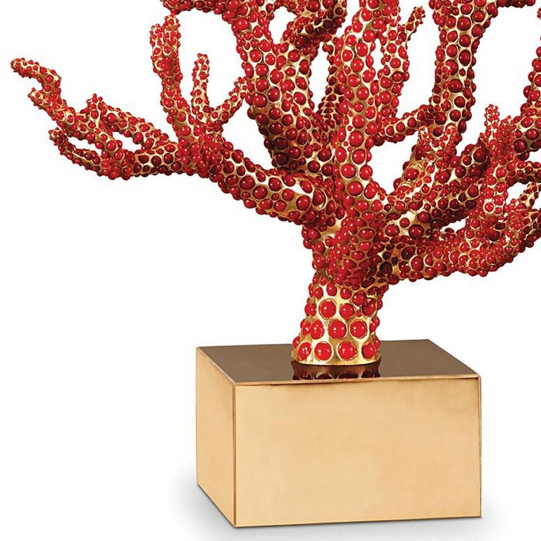 Hand-Crafted Red Coral Sculpture with Natural Coral For Sale