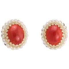 Red Coral Seed Pearl Earrings Oval Stud 14 Karat Yellow Gold Estate Fine Jewelry