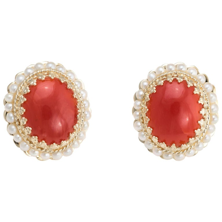 Red Coral Seed Pearl Earrings Oval Stud 14 Karat Yellow Gold Estate Fine Jewelry For Sale