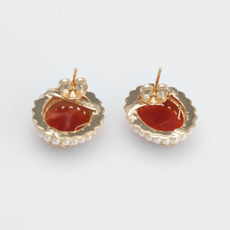 Modern Red Coral Seed Pearl Earrings Oval Stud 14 Karat Yellow Gold Estate Fine Jewelry For Sale