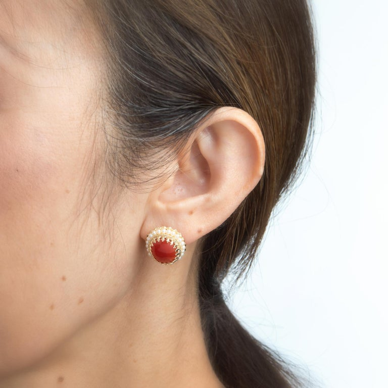 Red Coral Seed Pearl Earrings Oval Stud 14 Karat Yellow Gold Estate Fine Jewelry In Excellent Condition For Sale In West Hills, CA