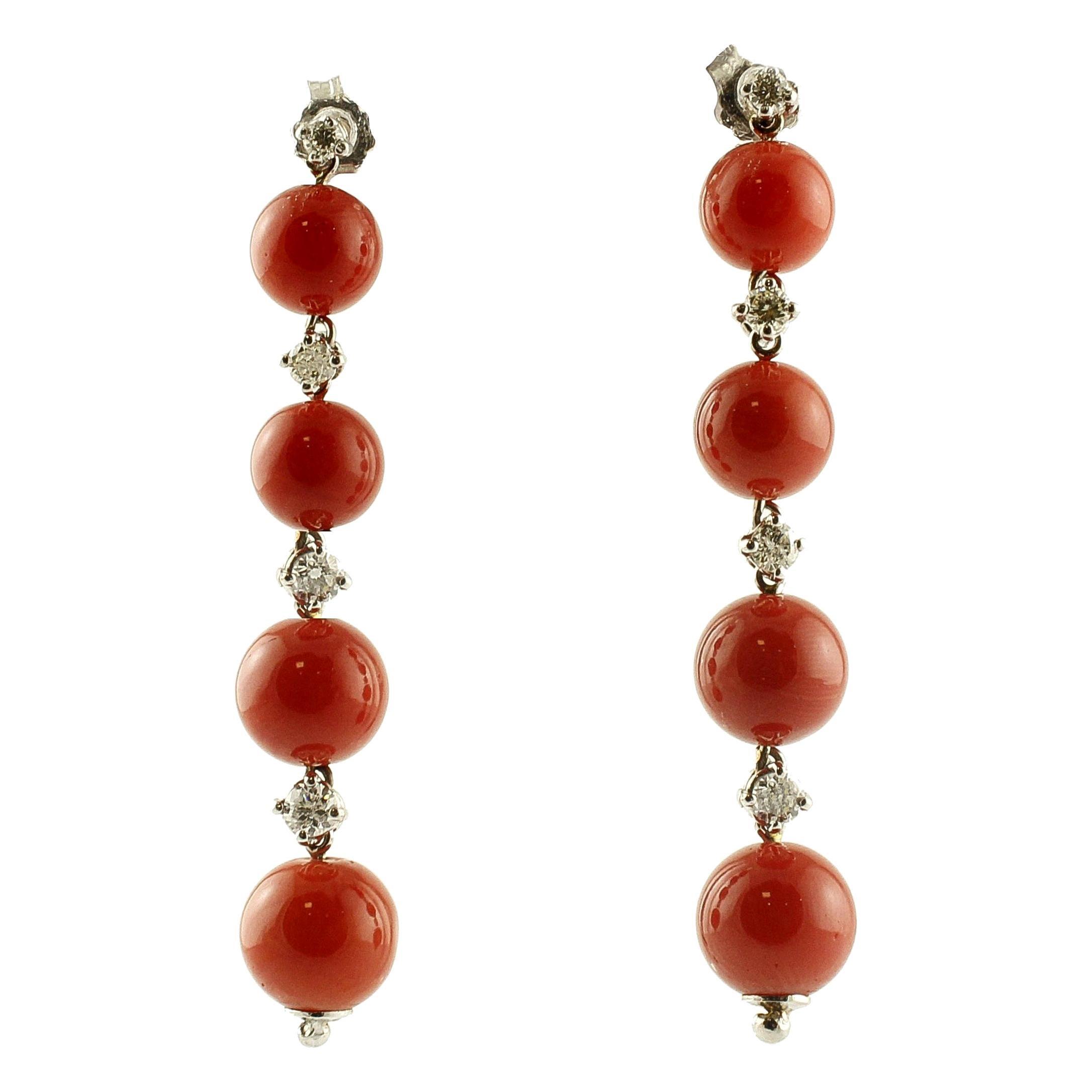Red Coral Spheres, White Diamonds, 14 Karat White Gold Dangle Earrings