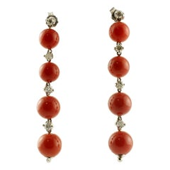 Red Coral Spheres, White Diamonds, 14 Karat White Gold Dangle Earrings