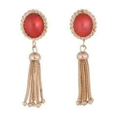 Red Coral Tassel Earrings 14 Karat Yellow Gold Fringe Drops Estate Fine Jewelry