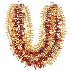 Red Coral Tufts Freshwater Pearls 925 Silver Bold Multi-Strand Fashion Necklace