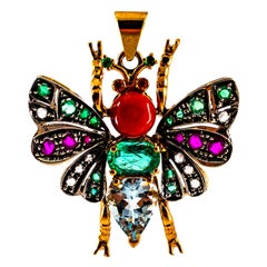 Red Coral White Diamond Ruby Emerald Aquamarine Yellow Gold Butterfly Pendant
