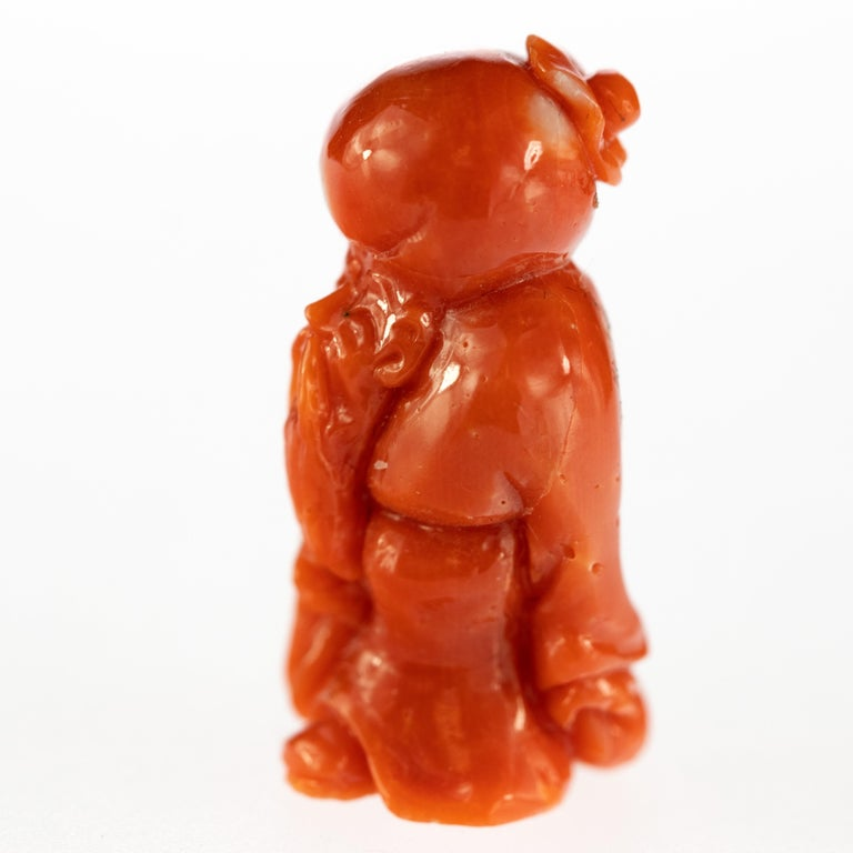 Chinese Export Red Coral Wise Man Hand Carved Asian Art Home Decor Taiwan Statue Sculpture For Sale