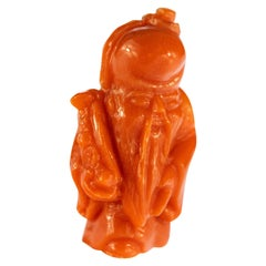 Red Coral Wise Man Hand Carved Asian Art Home Decor Taiwan Statue Sculpture