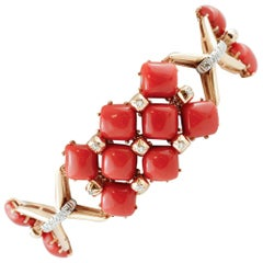 Red Corals, Diamonds, 14 Karat Rose and White Gold Retrò Bracelet