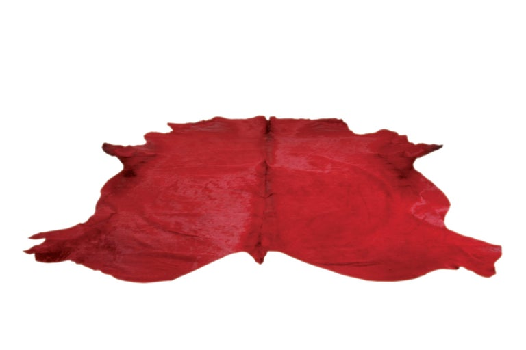 French Red Cowhide Rug For Sale