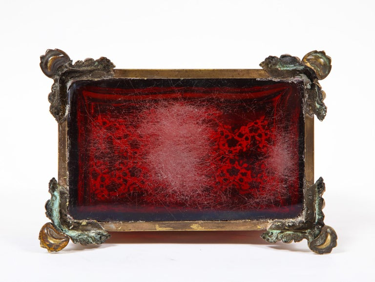 Red-Cranberry Moser Crystal and Enameled Box Made for the Islamic/Moorish Market For Sale 7
