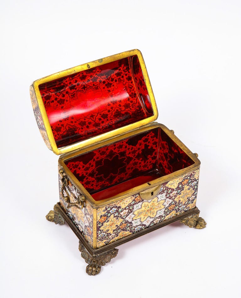 Red-Cranberry Moser Crystal and Enameled Box Made for the Islamic/Moorish Market For Sale 8