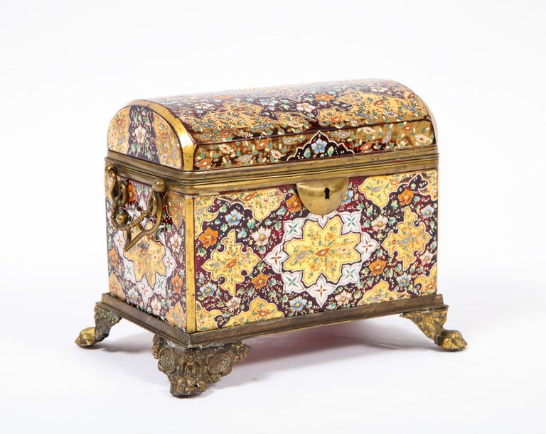 Austrian Red-Cranberry Moser Crystal and Enameled Box Made for the Islamic/Moorish Market For Sale