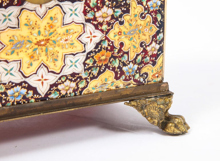 Red-Cranberry Moser Crystal and Enameled Box Made for the Islamic/Moorish Market In Good Condition For Sale In New York, NY